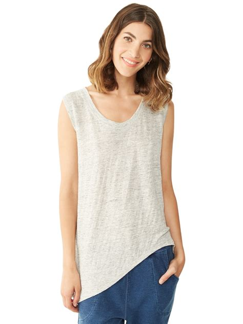 Asymmetrical Sleeve T Shirt lyst alternative apparel linen asymmetrical cap sleeve t