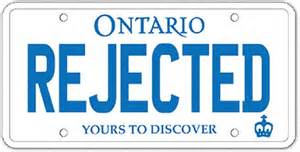 ontario vanity licence plates rejected for violence
