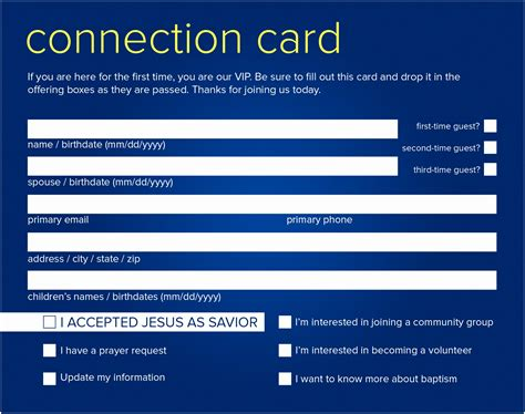 Church Visitor Cards Templates Free by Church Connection Cards Color Printing Simple Free