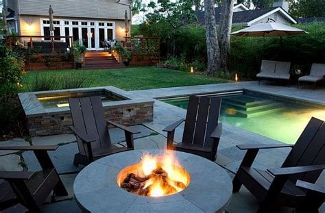 backyard patio combination with firepit and pool