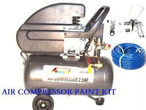 6 gallon air compressor with hvlp spray paint gun 1 4 and 50 ft air hose kit ebay
