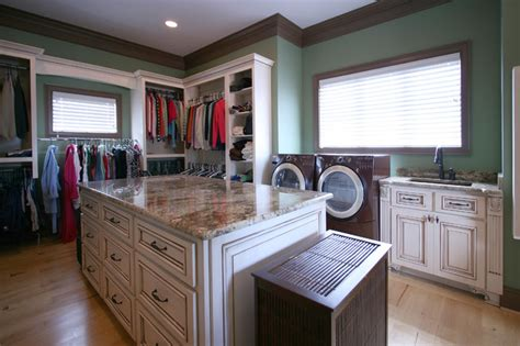 Master Bedroom Closet With Laundry Walker Woodworking Custom Cabinets Traditional Closet