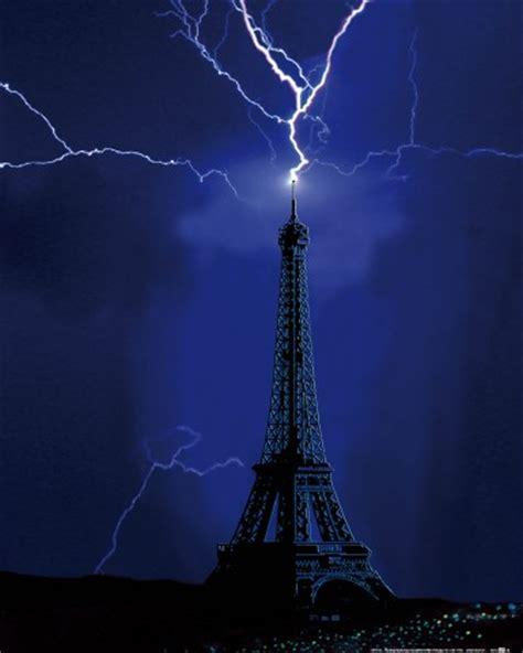 eiffel tower struck by lightning in 1902 art prints