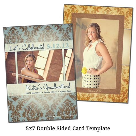 4 side card template powepoint 5x7 sided card template senior damask by