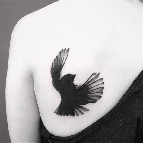blackbird tattoo falling blackbird on the left shoulder blade