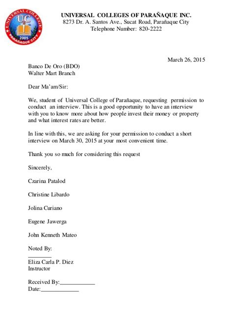 Letter Of Consent For Conducting Research Bank Request Letter