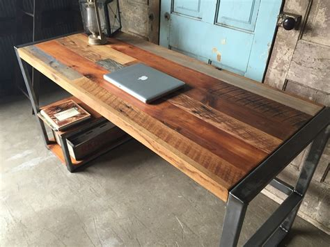 reclaimed wood patchwork desk 187 gadget flow