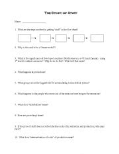 Story Of Stuff Worksheet Answers by Teaching Worksheets Tales And Stories