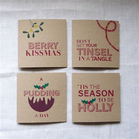 Christmas Gift Card Words - set of 12 silly sayings christmas cards by please kern left notonthehighstreet com