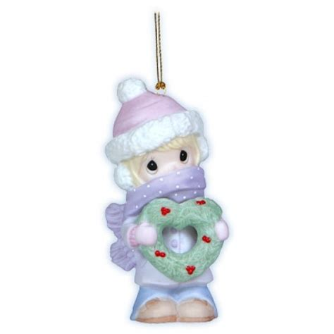 girl with christmas wreath precious moments ornament