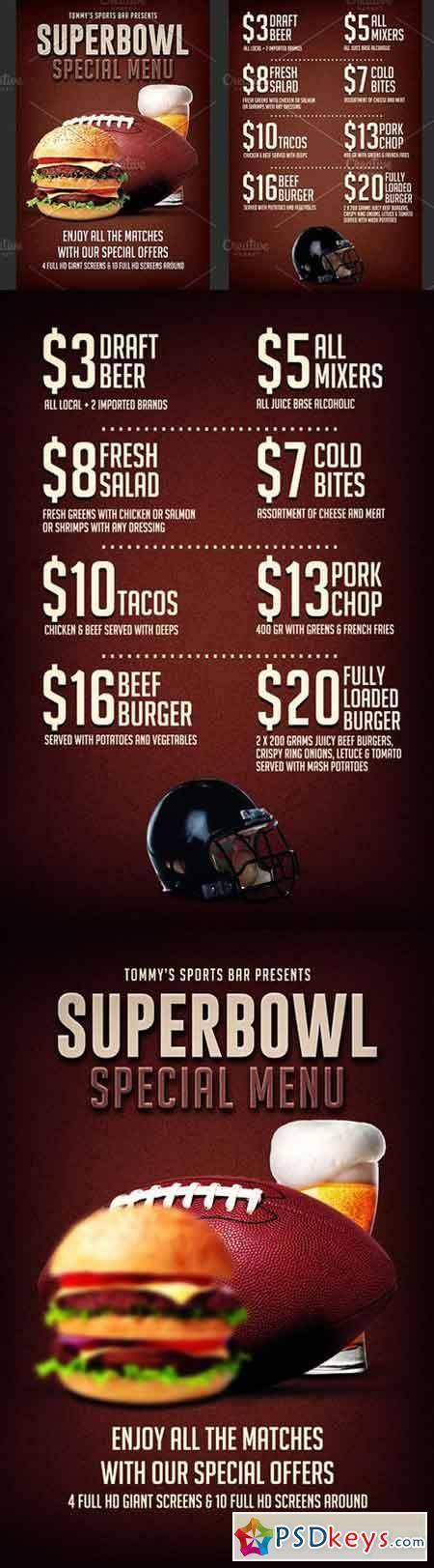 football super bowl food menu flyer 1213258 187 free