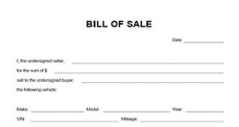 simple bill of sale for car template odometer disclosure statement