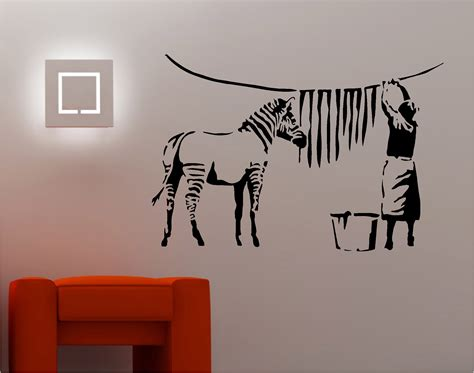 Musical Note Wall Stickers banksy style zebra washing wall art sticker vinyl quote