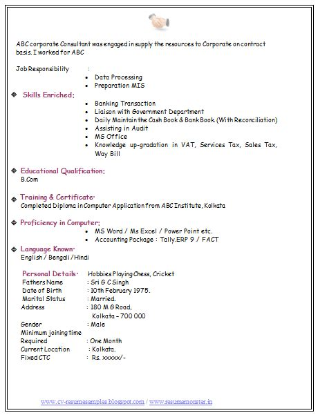 resume format sles for freshers 10000 cv and resume sles with free bcom experience resume format