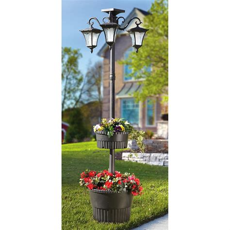 solar lit l post with planters 225706 solar