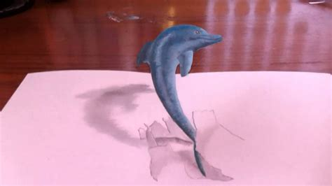 How To Make A 3d Dolphin Out Of Paper - 3d drawing jumping dolphin 高校生の自主制作