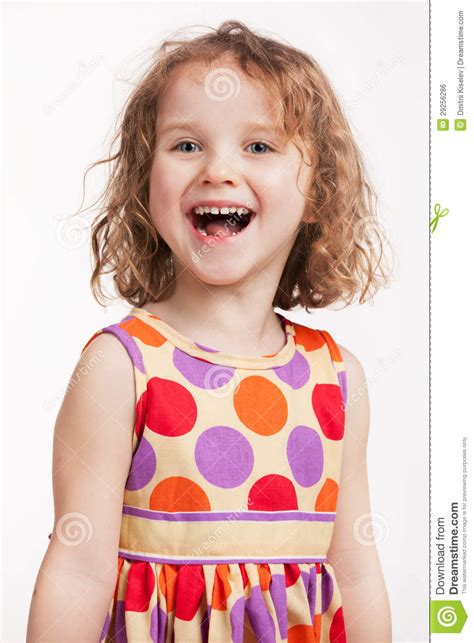 little girls happy little girl in a bright dress royalty free stock