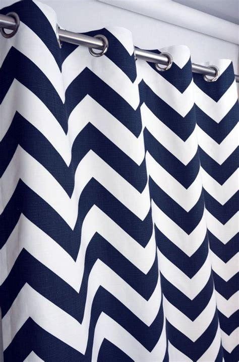 Navy Blue Chevron Curtains Navy Blue White Large Chevron Zig Zag Zippy Curtains Grommet 84 96 108 Or 120 By 25 Or