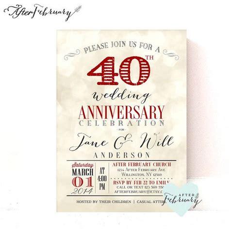 40th anniversary color 40th anniversary invitation ruby wedding anniversary