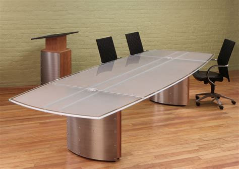 Glass Meeting Table Frosted White Glass Top Conference Table Contemporary Lectern And Modern Boardroom Furniture