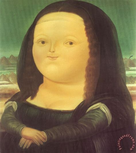 Gamis Monalisa Abstract Green fernando botero mona painting for sale paintingandframe