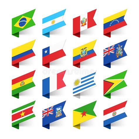 flags of the world usa flags of the world south america stock vector