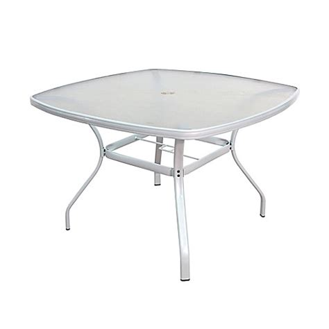 Tempered Glass Dining Table In White Bed Bath Beyond White Glass Patio Table