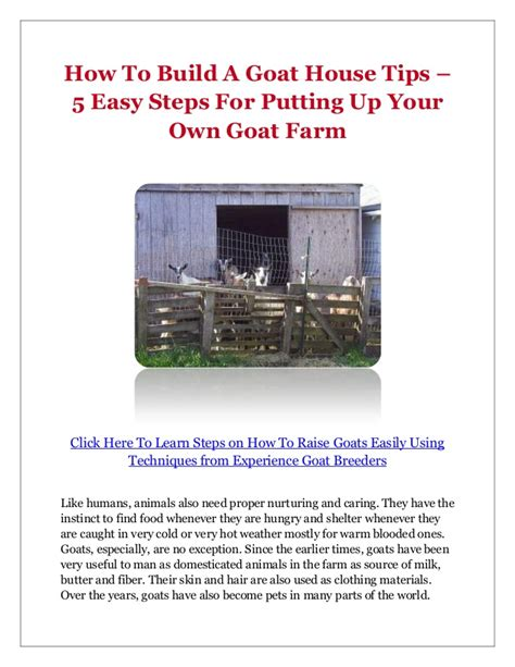 building a house tips how to build a goat house tips 5 easy steps for putting up your own