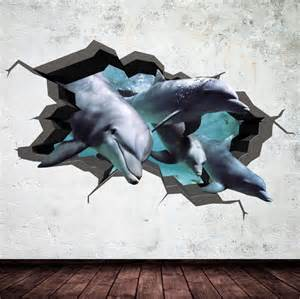 dolphin wall decal cracked 3d wall sticker mural by dolphin bathroom wall decals wall stickers for kids