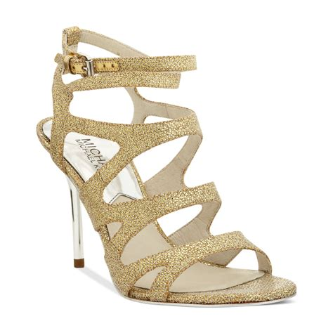 gold evening sandals michael kors yvonne evening sandals in gold lyst