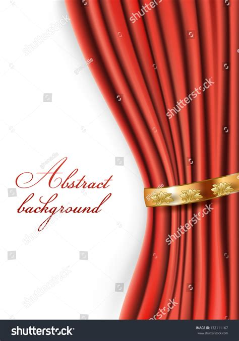 red satin curtains red satin curtains with gold background stock photo