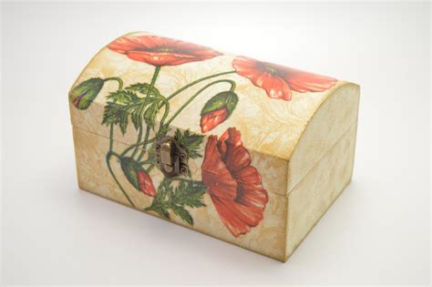 Wooden Decoupage Box - wooden jewelry box decoupage box shabby chic box flower