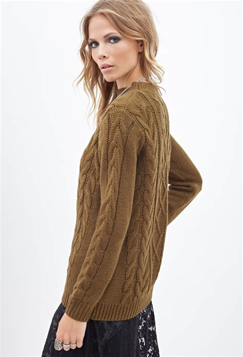Sweater Uber With Back Print forever 21 cable knit crew neck sweater in brown lyst
