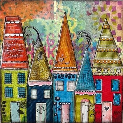 colorful houses painting original mixed media collage artwork colorful blue