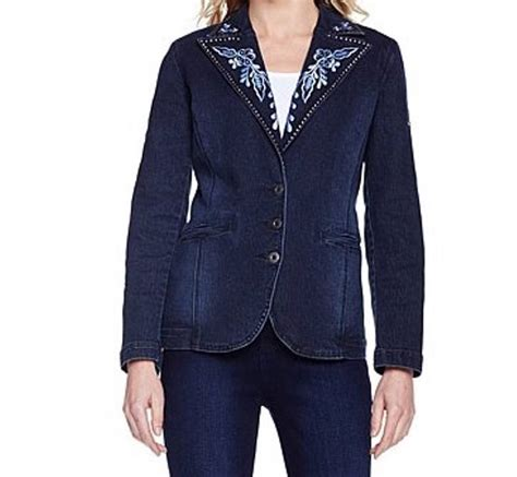 Blazer St Plus s fall embroidered studded denim blazer jean jacket plus xl1x 2x3x ebay