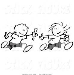 Larger preview clip art of black and white pair of stick figure boys