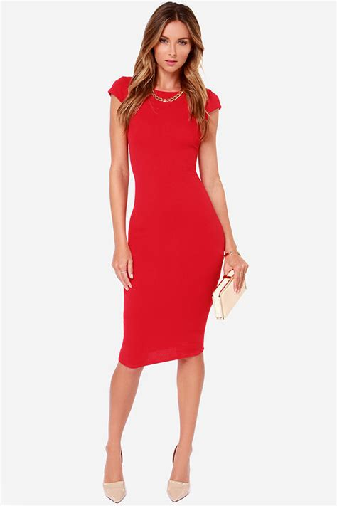 hairstyle that will suit a midi red dress midi dress bodycon dress 61 00