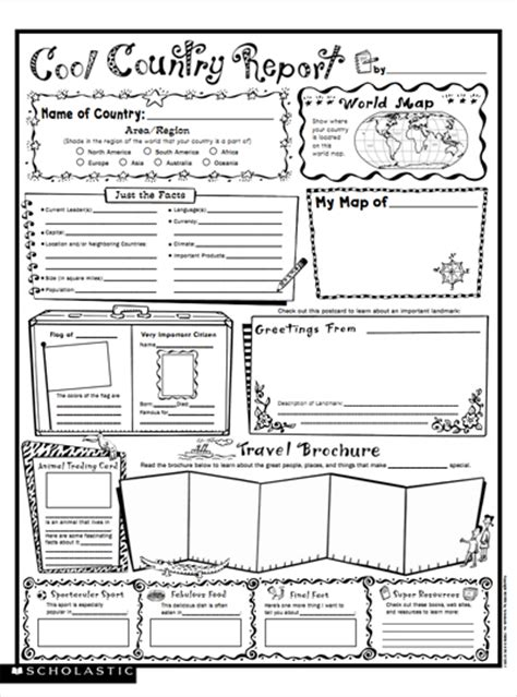 country report template middle school cool country report fill in poster parents scholastic