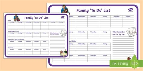 Family To Do List Planning Template Young People Families Family To Do List Template