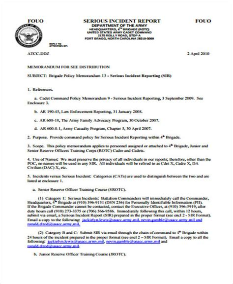 army serious incident report template 53 incident report exles