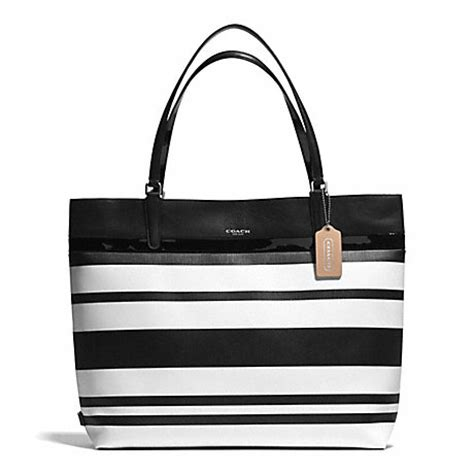 Coach Blacknwhite coach f30511 striped coated canvas tote silver black