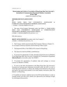 articles of association template 7 best images of memorandum of association template