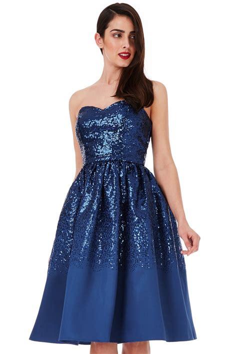 Sweetheart Dresses by Sweetheart Neckline Sequin Midi Dress Navy Sweetheart