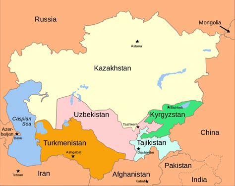 map of central asia file central asia political map 2008 svg wikimedia commons