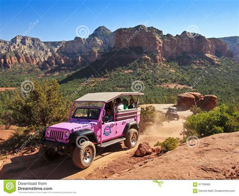 Pink Jeep Broken Arrow Tour A Pink Jeep Tour Descends Broken Arrow Trail Editorial