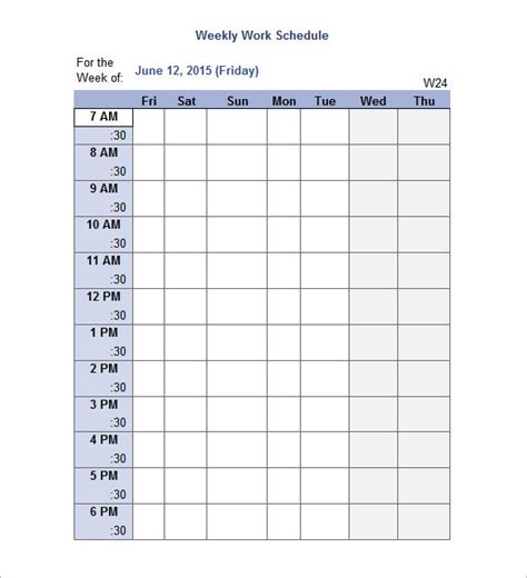 Work Schedule Templates 9 Free Word Excel Pdf Format Download Free Premium Templates Weekly Work Plan Template