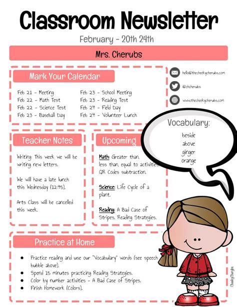 classroom newsletter template classroom newsletter template the cheekycherubs