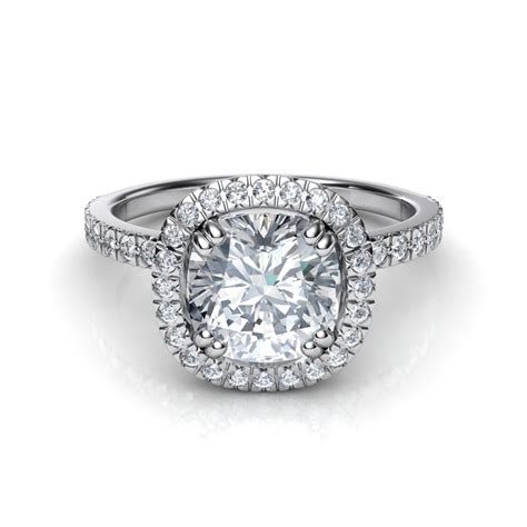 pave engagement rings cut pav 233 cushion cut halo engagement ring