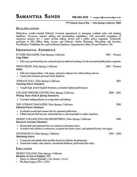 Copy Editor Resume