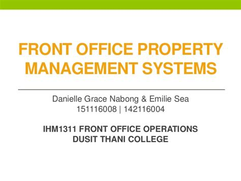 Office Operations by Property Management System In Front Office Operations